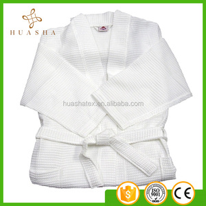 100% Cotton white color waffle woven mens robes