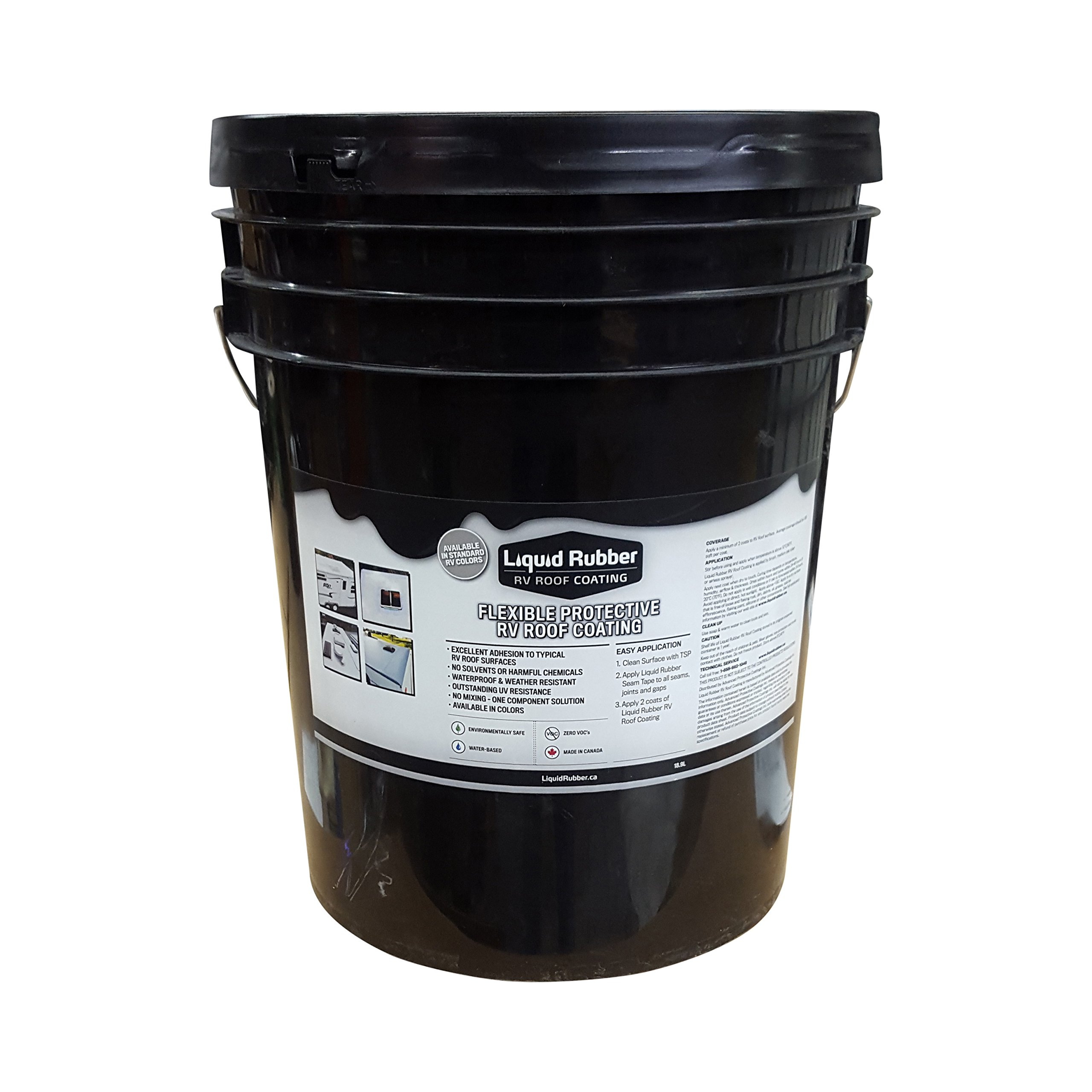 Liquid Rubber RV Roof Coating/Sealant - 5 Gallon - Brilliant White - Solar Reflective Cool Roof - Waterproof - Environmentally Friendly - No Solvents or VOC's - Easy to Apply - No Mixing - TOP SELLER