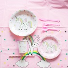 EasternHope Unicorn Party Supplies Set Serves 16 Unicorn Decorations Tableware Girls Birthday Children's Party Supplies Unicorn