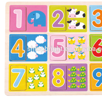 New china products for sale wooden numbers chunky puzzle toys for cool math 4 kids math games early learning toys