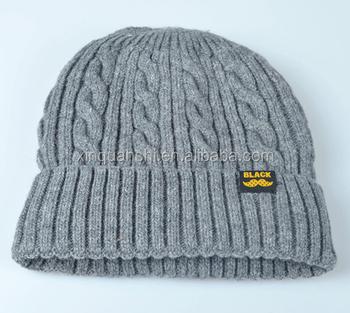 f8e452568a6 Knitted Cotton Wool Beanie Hat Fold Beanie Hat fleece lining wholesale  beanie