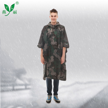 Factory Price Nylon Army Camouflage Waterproof Rain Poncho