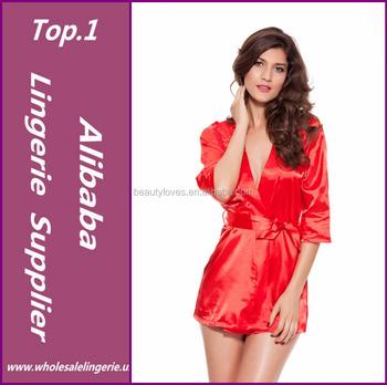 4776051b9d Women Fashion Black Satin Black Sexy Lingerie Costume Pajamas Underwear  Sleepwear Robe and G-String