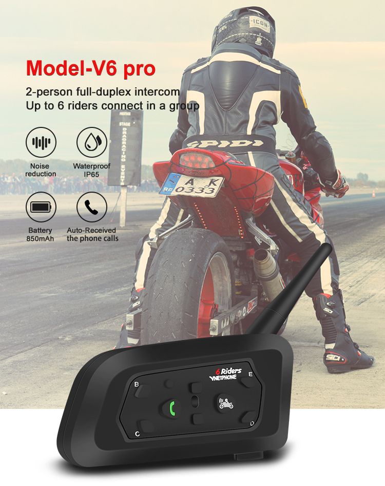 Professional Manufacturer Motorcycle Bluetooth Interphone/Intercom V6 up to 1200 Meter 6 Riders