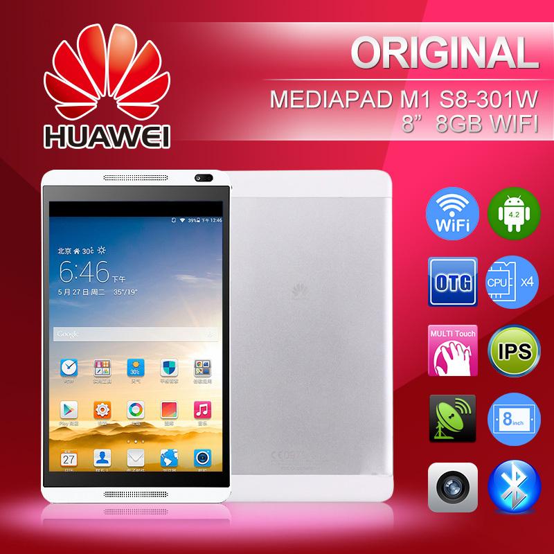 Original Huawei Tablet MediaPad M1 S8-301W WiFi 8″ 1280 x800 IPS Hisilicon  Kirin 910 Quad Core 1 6GHz 1GB 8GB Android 4 2 5MP