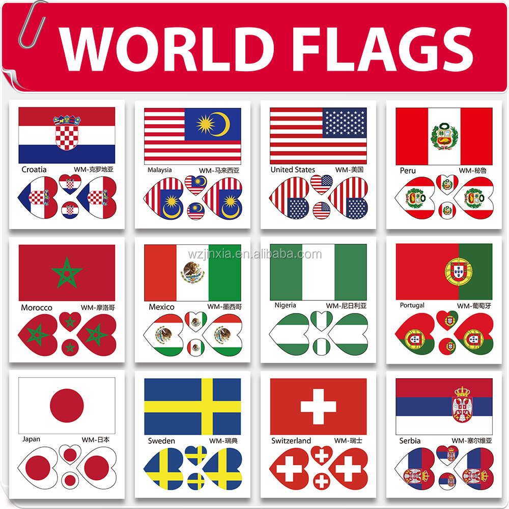 customized country flag temporary tattoos for face