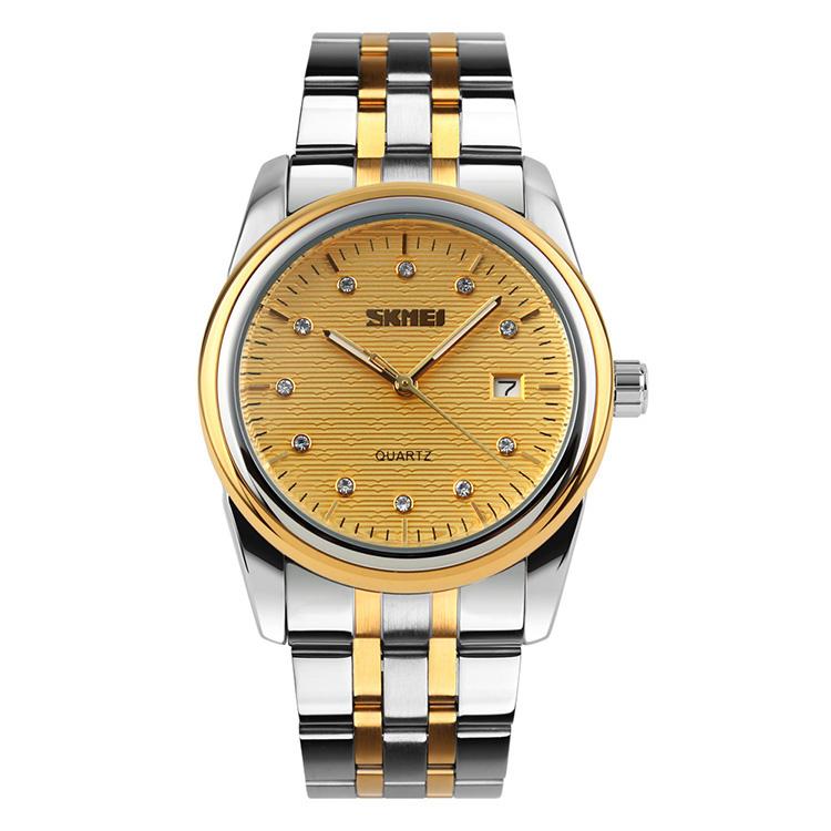 Skmei 9099 hight quality parnis fitron Couple japan movement quartz sr626sw China luxury stainless watches, Black;white;golden/customzied