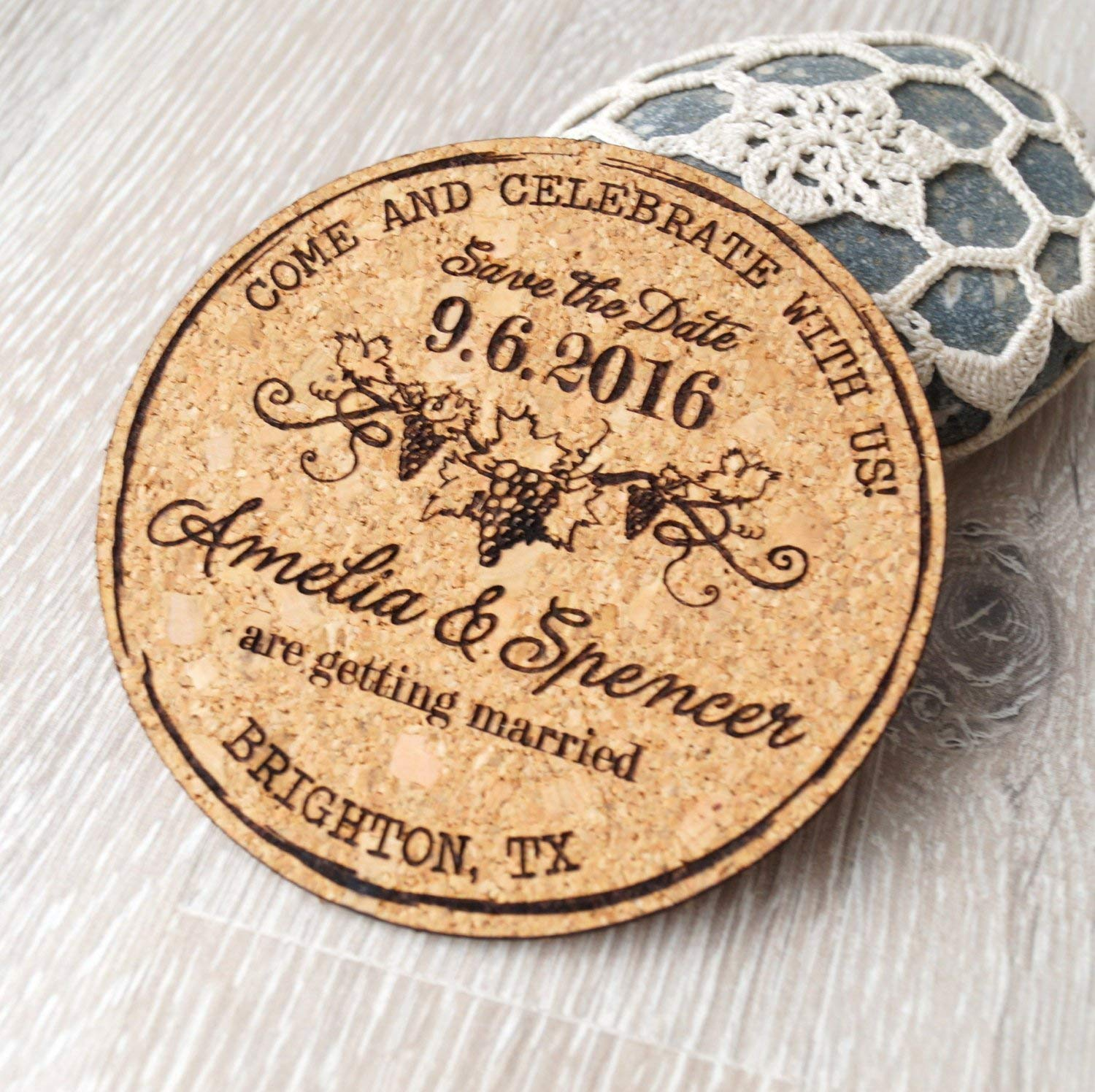 Cork save the dates, rustic save the date coasters or magnets, vineyard wedding magnets, personalized laser engraved coasters - Set of 25 pc