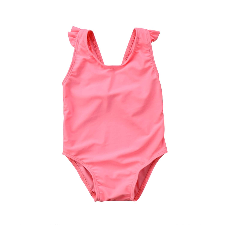 c91981fabaf64 Get Quotations · Gogolan Newborn Infant Baby Girl Bow Swimsuit Ruffles  Bathing Suit Bikini Floral Swimwear