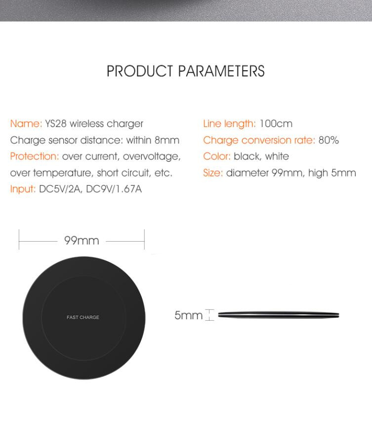 New arrival Ultra-thin LED Light Fast Wireless Charger, 10W Charging