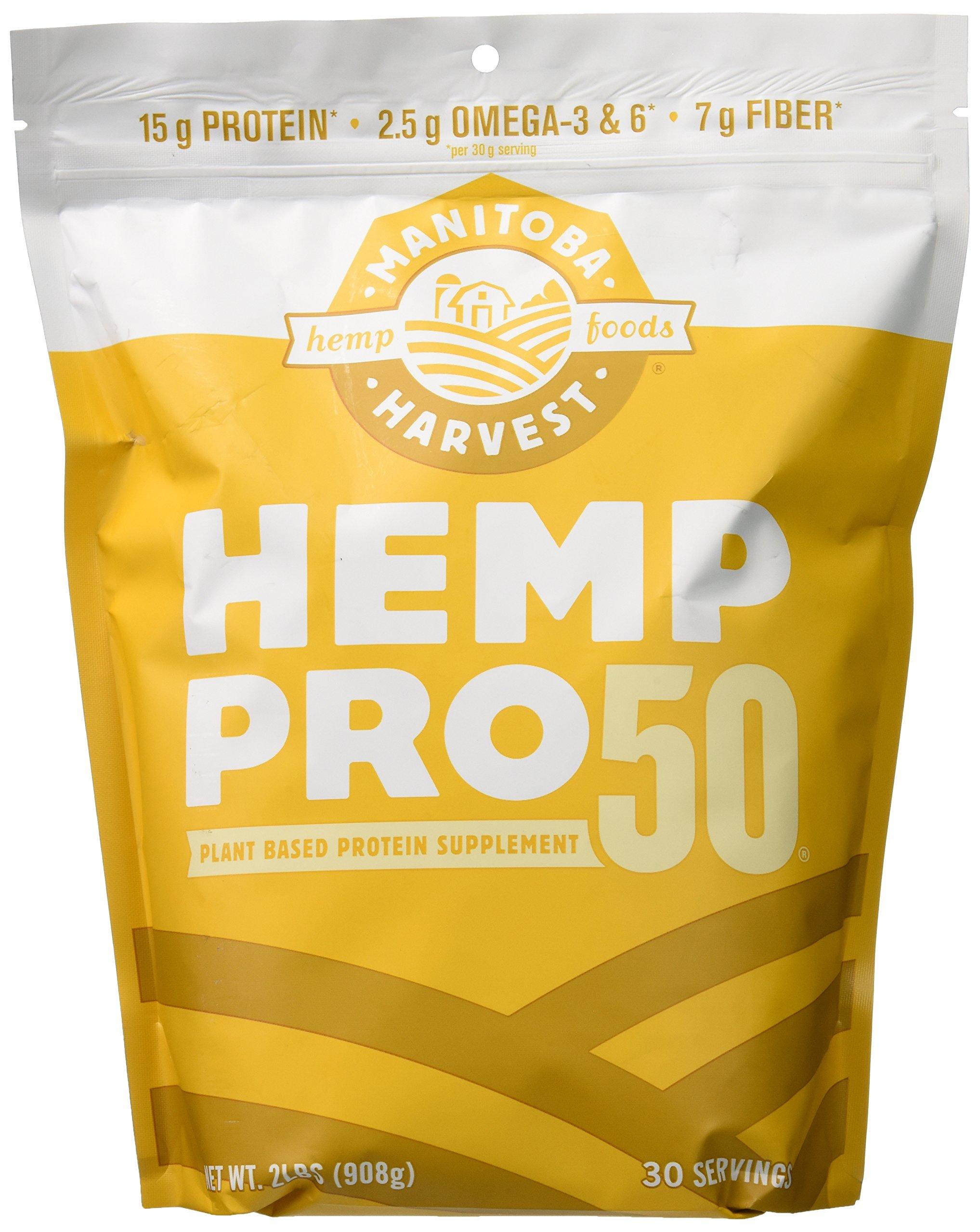 Manitoba Harvest Hemp Pro 50 Protein Powder, 32oz; with 15g of Protein & 7g of Fiber per Serving, Preservative-Free, Non-GMO