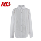 School Uniform White Shirts Long Sleeve Shirt with Lace Panel for Girl