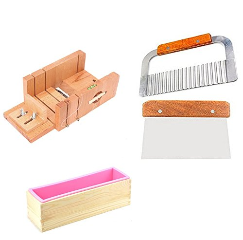6MILES 2 Pcs Stainless Steel Soap Cutter+ 1 Pcs Straight Soap Cake Making Mold Loaf Garnish Cake Cutter with Line Wire Home Tool Graters Peelers Slicers Knife Set+ 1 Pcs Wood Box+1 Pcs Silicone Mold