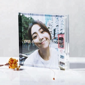 Acrylic Square Photo Frame 6x6 Plastic Picture Block With Magnet