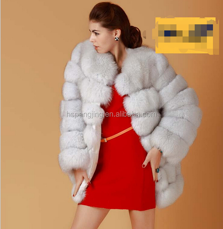 2016 european style winter Black/ White fox fur collar hooded woolen faux fur extra long coat