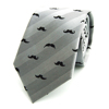 Novelty Mustache Stripe Grey Silk Necktie