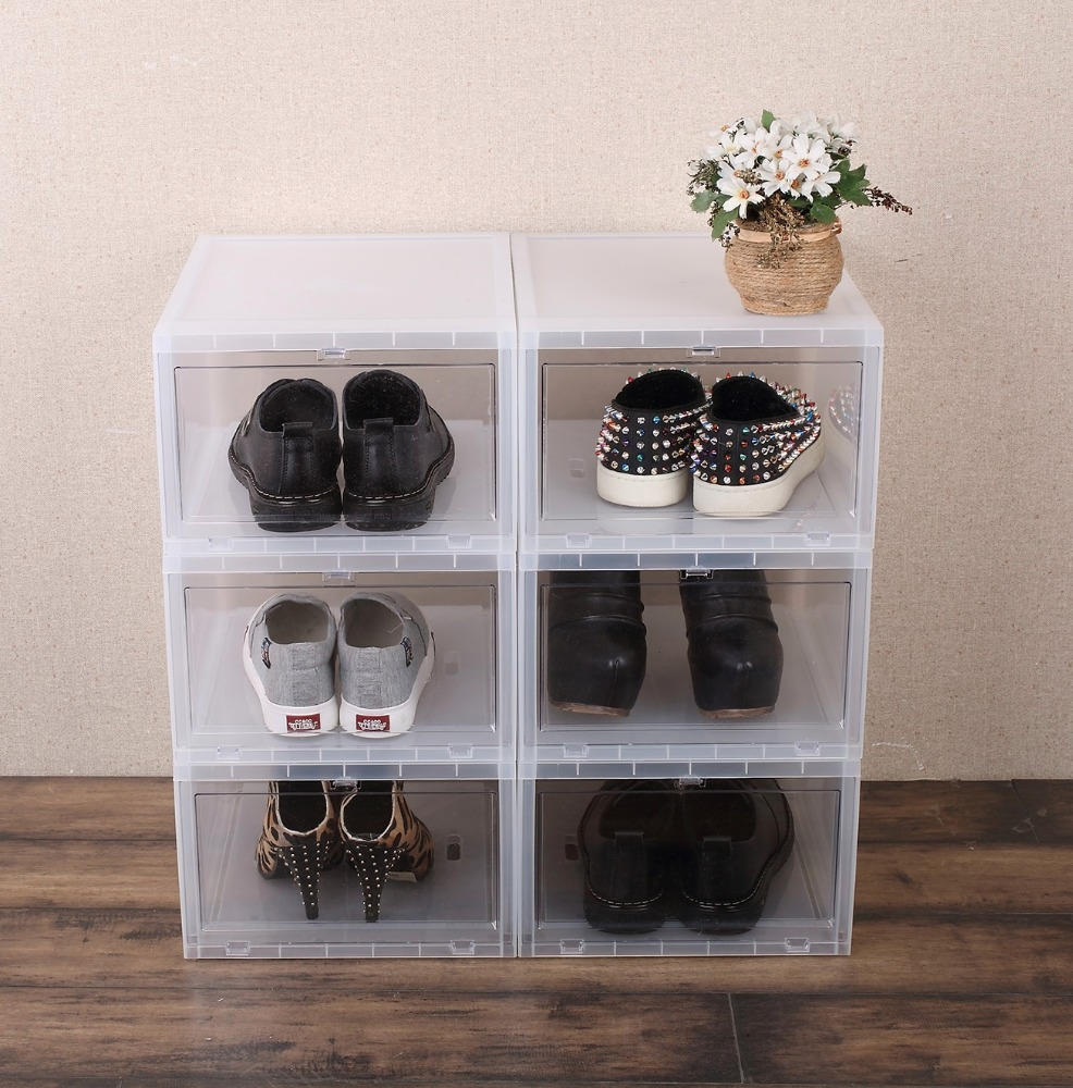 Stackable Drop Front Clear Plastic PP Shoe Box for Sneakers