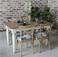 DT-4001-4 French Style Solid Wood Table Antique White Oak Dining Table