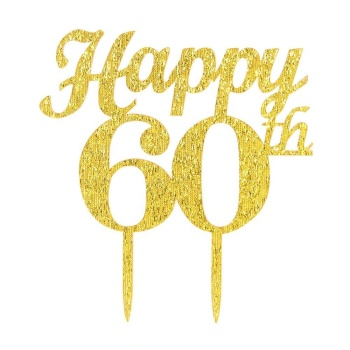 Acrylic Happy 60th Cake Topper Lucite Birthday Custom Perspex Number