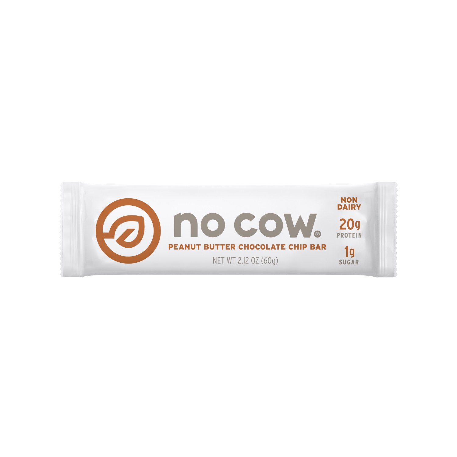 No Cow Protein Bar, Peanut Butter Chocolate Chip, 20g Plant Based Protein, Low Sugar, Dairy Free, Gluten Free, Vegan, High Fiber, Non-GMO, 12 Count