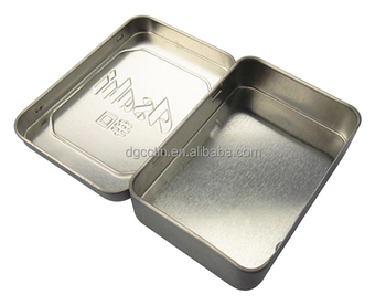 small empty gift packaging hinged silver metal tin box plain