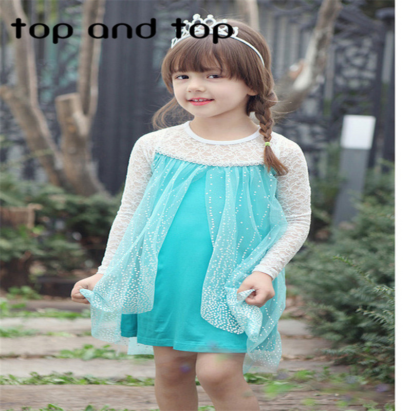New 2016 hot sale child s baby kids Girl s Princess Queen Elsa Anna Cosplay Costume