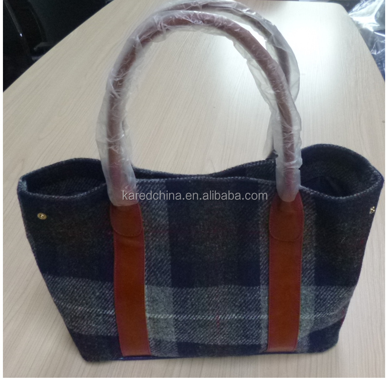 top branded lady wool tweed handbag 2015