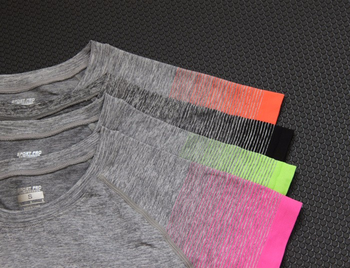 Gradually Changing Color Quick Dry And Anti-wrinkle Yoga Workout Clothes Yoga Apparel T Shirt 14
