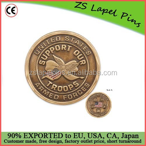 High quality cheap price two sided solid custom metal collector coins