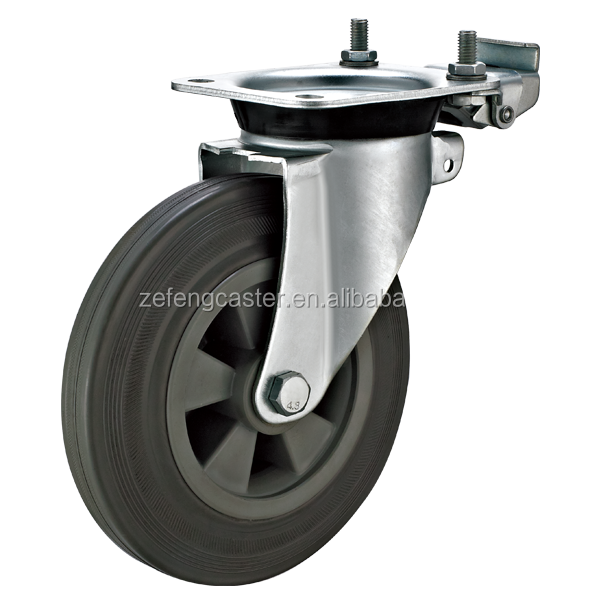 8 inch Garbage can EN840 Caster with Directional Lock and Gray Rubber Wheels
