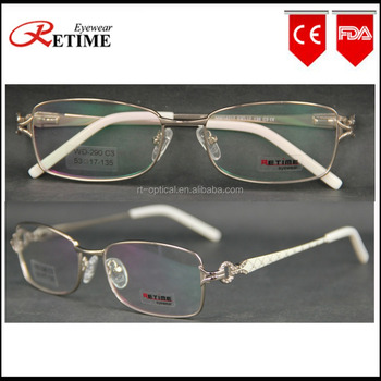f3f457a815f7 Rectangular frame design latest ladies optical diamond frame eyewear glasses  metal no brand(WD-