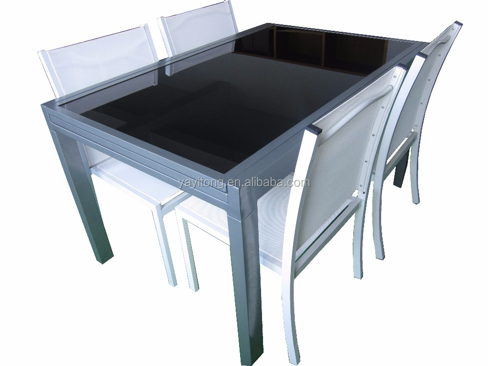 Aluminum dining room extendable glass dining table extention table