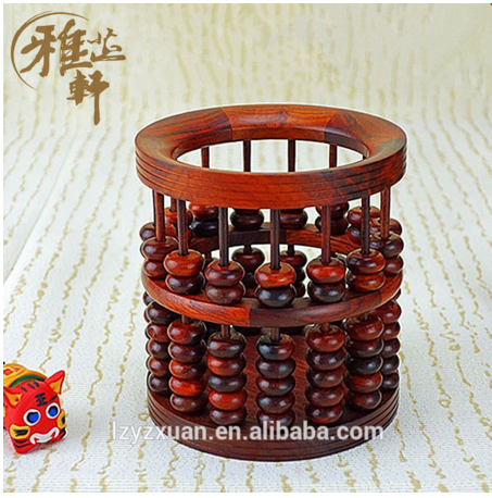 Yazhixuan Taobao Shopping 2016 Promotive Gift Items Cylinder Abacus Shape Woden Pen Holder for Decoration Home
