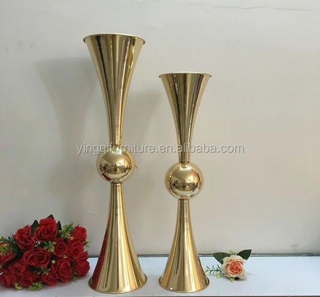 Golden Tall Trumpet Vases for <strong>Wedding</strong>