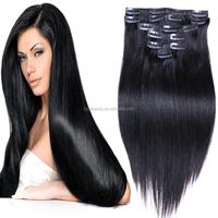 china suppliers clip hair 100 % brazilian human virgin clip in hair extension for black women