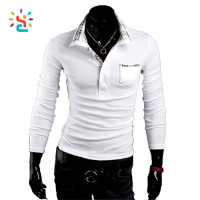 Custom Cotton White Tshirt Men's Casual Slim Fit Polo Neck Long Sleeve T-shirt,Mens Polo Shirt,Blank Solid Long Sleeve T-shirts