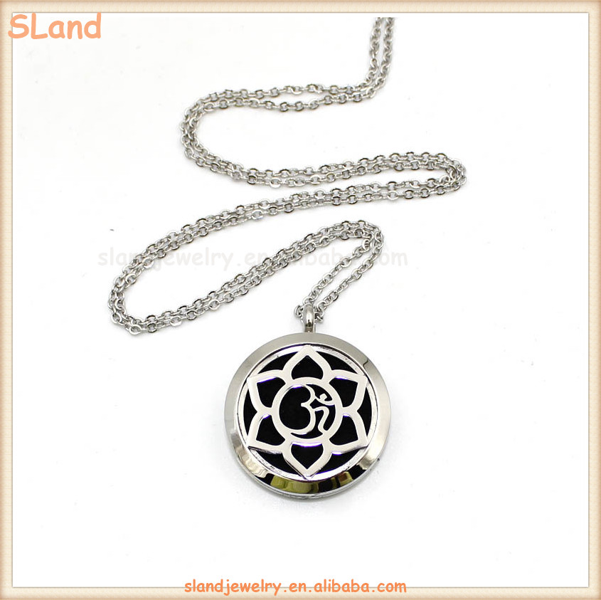 Hot Selling holy lotus stainless steel Aromatherapy perfume essential oil diffusion necklace pendant with felt pads & 24'' chain