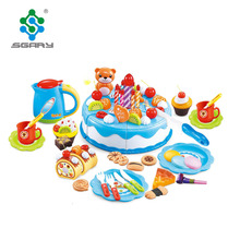 Happy birthday party time plastic cake with cookies and Macarons and pizza play set toys