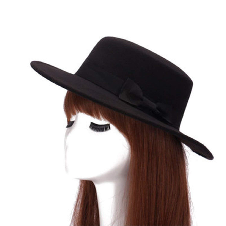 7043413e2eb Get Quotations · Batsomer Autumn Winter Mens Hats Fedoras Vintage Women  Girls Felt Fedoras Flat Top Jazz Hat Church