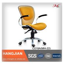 HANGJIAN C018A orange fabric office swivel chair with silver painted base