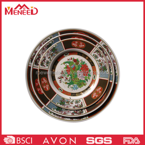 Royal household style round shape different size colorful phoenix printing chinese dinner plate