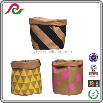 Luxury ECO Bag Washable Kraft Paper Bag Storage Bag /washable Paper Plant  Holder/paper