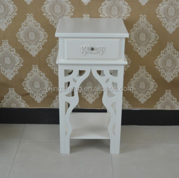 French Country Style Ivory Nightstand Unique Wooden Single Drawer Console Table  Side Table With Carving Legs