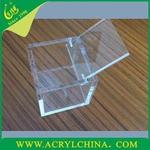 Acrylic cube box, small transparent box, wholesale boxes with hinge