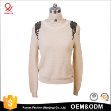 Fashion clothes wild long Sleeve Rivet Design Shoulders 100% cotton pullover Sweater For Woman