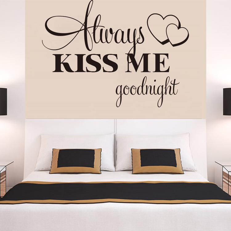 Home Decoration Always Kiss Me Goodnight Warm Room Sticker Wall Decals