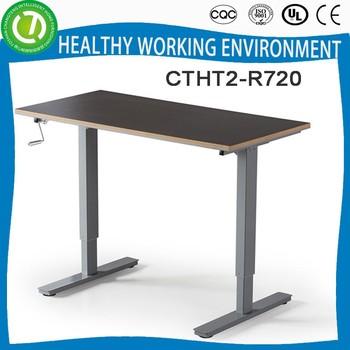Standard Office Desk Dimension Manual Crank Height Adjustable