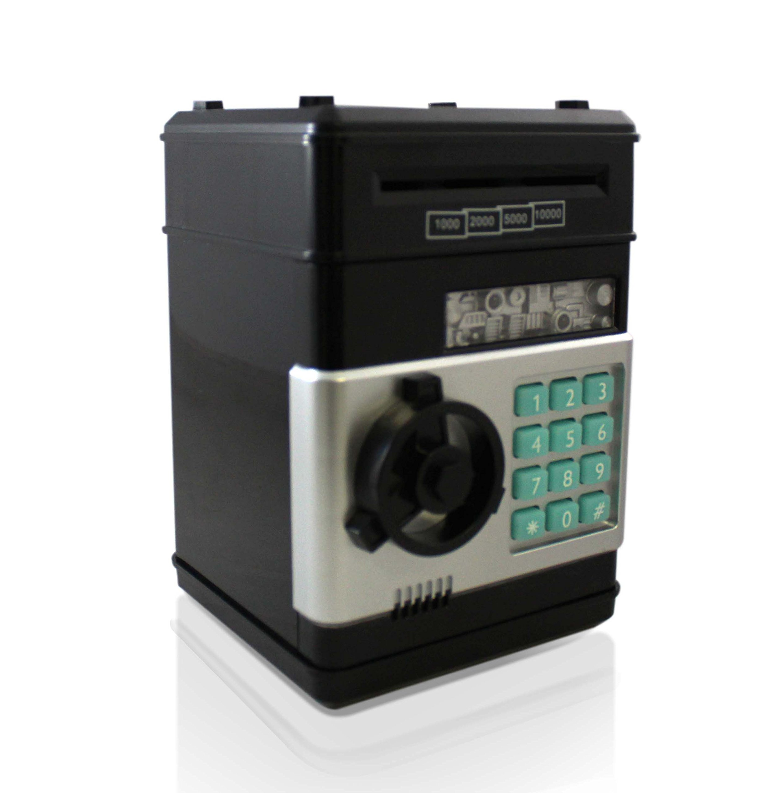 Black Grey Safe Coin Bank For Kids - Authentic ATM Money Saver Keeps Cash, Toys, and Jewelry Safe Inside - Auto Insert Bills and Electronic Password - Cool Piggy Bank Makes A Great Birthday Gift