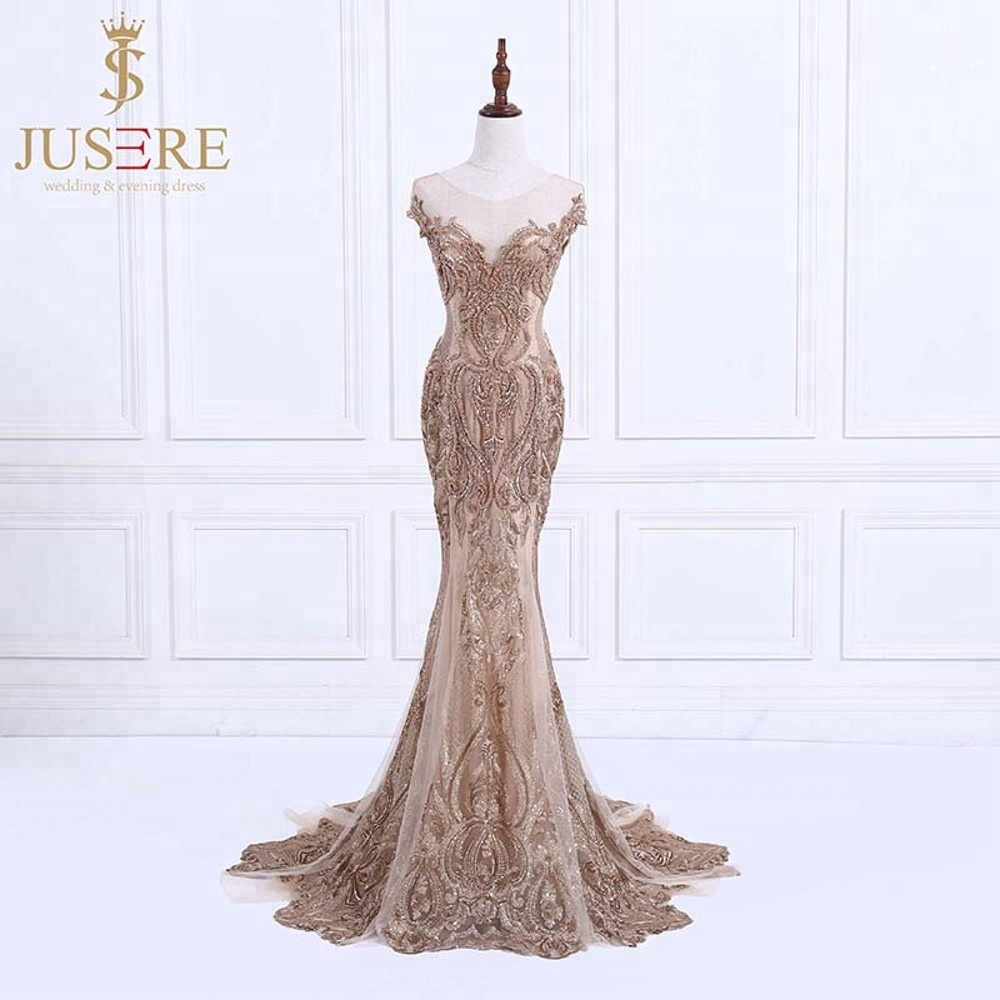 sexy meerjungfrau gold luxus applizierte perlen spitze