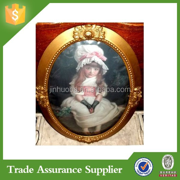 Antique Oval Picture Frame Convex Glass Innocent Girl Print Gold Gesso Victorian